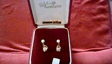 Vintage Cultured pearl 14 Kt. Gold earrings by Karen Lynne screwback
