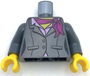 Lego New Dark Bluish Gray Torso Suit Jacket Two Buttons Pink Shirt and Magenta