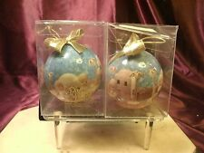 2  PRECIOUS MOMENTS Enesco Christmas Ornament Glass Bulb 1989  Nativity Scene