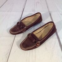 J Crew Womens Loafers Brown Leather Slip On Toe Strap Driving Flat Shoes Italy 6