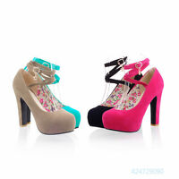 Womens Ladies Floral High Heels Cross Ankle Strap Pumps Shoes US Size Z519