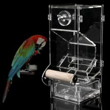 Acrylic Clear Pet Bird Seed Food Feeder For Parrot Cockatiel Canary Cage Toys