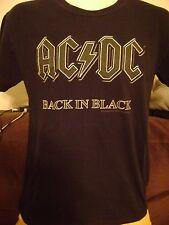 AC/DC T-SHIRT-Men's Adult SMALL- BACK IN BLACK- CLASSIC LOGO- HARD ROCK/METAL