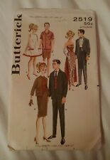 "Vintage Butterick Sewing Pattern 2519 Barbie Ken Gina Mitzi 11.5"" & 12"" Doll"