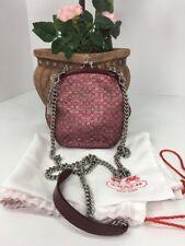 Coach Small Evening Bag Clutch Crossbody Pink Metallic Framed Kisslock B20