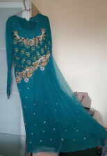 Indian,Pakistani Asian Tradional Turquouse/Green Outfit Dress with Dupatta Scarf