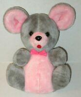 Vintage Acme Gray Pink Plush Mouse Carnival Prize Korea Hard Stuffed Animal Toy
