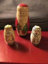 "3 Vintage Nesting Dolls:2 Authentic Models:Magi & Angels,1 Santa Claus 5.8""Tall"