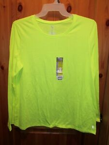 NEW DANSKIN NOW Neon Yellow Semi Fitted PERFORMANCE TEE XXL 2X long sleeves