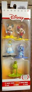Disney Nano Metalfigs Die-Cast Mickey, Minnie, Alice, Kermit, Stitch Pack A