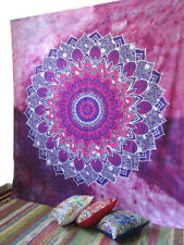 Queen Size Wall Decorative Tapestry Indian Mandala Cotton Bedspread Multi Pink