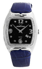 Aqua Swiss Men's Black Dial Diamond Bezel Blue Leather Band Watch 00174