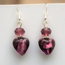 Love Heart Earrings Purple Glass Sterling Silver Hooks New Drop Dangle LB632
