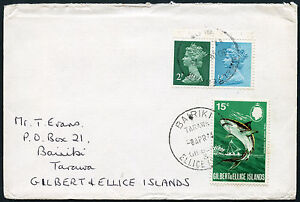 GILBERT + ELLICE Islands POSTAGE DUE 1974 from GB MACHINS 2p + 1/2p...TO PAY 15c