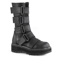 Women's Demonia Lilith 211 Mid-calf Platform Boot Black Vegan Leather Size 9 M