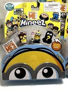 Despicable Me Mineez Series 1 Deluxe 3 pack Tiki Trash Can & Boss Man Mel Minion