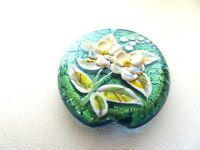Murano Lampwork Glass Beads Gold Foil Emerald Green With Raised Flower Design