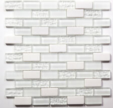 Super White Subway White Mosaic Glass Tile / 22 sq ft