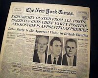 NIKITA KHRUSHCHEV Soviet Union Cold War Era Leader OUSTED Photo 1964 Newspaper