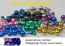 Titanium Anodized belly bar navel ring double gem anodised wholesale bulk pierce