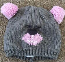 Girls Mothercare Cute Grey Bear Hat Pom Pom Ears Winter Age 24-36 Months B74