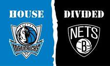 Brooklyn Nets vs Dallas Mavericks house divided flag 3x5ft Free shipping