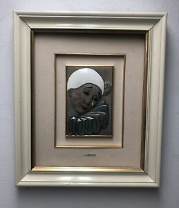 L. MORONI Framed Pierrot Picture MIDA Sterling Silver AG 925 Italy Signed Clown