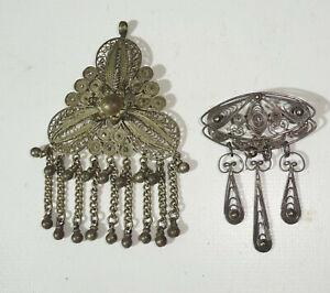 Vieux Bijoux de Mode Folklorique en Partie Pendentif en Argent Broche