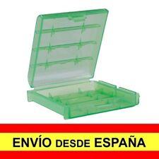 Caja Almacenaje Estuche  Blister Verde de Plastico para Baterias AA a3421