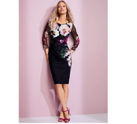 Black Scuba Fabric Floral Print Shift Dress With Semi Sheer 3/4 Length Sleeves