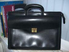 cartable GERARD HENON cuir noir . poignées rétractables .(17/L)