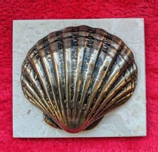 COLD CAST BRONZE SCALLOP SHELL ON MARBLE BASE HAND CRAFTED ON THE ISLE OF WIGHT