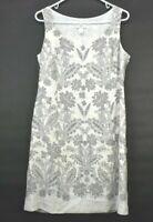 Ann Taylor Loft Women's Size 10 Sleevless Silk Blend Floral Sundress Gray