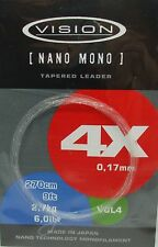 Vision Nano Mono tapered Leader for Fly Fishing 6lb x 9 foot BRAND NEW