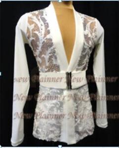 M370 hot sale Men Latin dance shirt  white crystals V neck L size new
