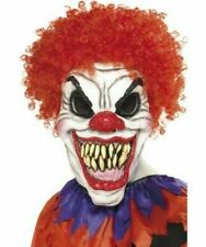 Smiffys Halloween Evil Scary Clown Mask with Hair Fancy Dress Kids Adult  Mens