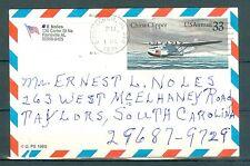 US.UXC 22 Air mail 33c China Clipper USED canceled Birmingham AL. Jun.1991