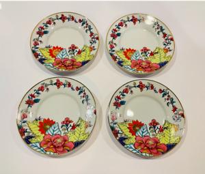 IMPERIAL LEAF Vintage Tobacco Leaf Fine China Bread Plates or Saucers- Set of 4