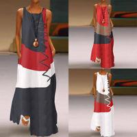 ZANZEA 8-24 Women Sleeveless Maxi Long Sundress Kaftan Color Block T-Shirt Dress