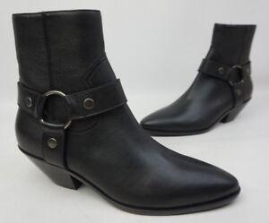 Saint Laurent Women's West Black Leather Harness Western Booties Size 39