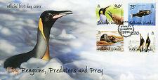 Falkland Islands 2014 FDC King Penguins Predators & Prey 4v Set Cover Birds Seal