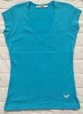 New Roxy ladies V-neck short sleeve T-shirt size M Turquoise blue