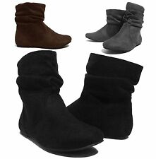 NEW Womens Short Wrinkle Slouch Ankle Boots Flat Heel Suede Booties BLK BRN GRY