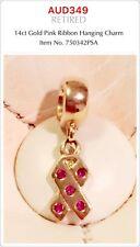 PANDORA 14k Gold Pink Ribbon Dangle Charm With Pink Sapphire, 750342PSA