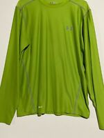 Mens Under Armour HeatGear Fitted bright Green L/S Shirt. Size large