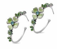New PILGRIM DENMARK Jewelry Green Swarovski Crystals Silver Women Hoop Earrings
