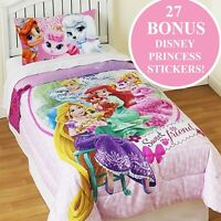 PALACE PETS TWIN COMFORTER STICKER SET Sweet Friends Cinderella Rapunzel Bedding