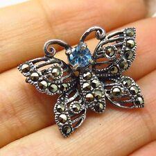 Vtg 925 Sterling Silver Real Blue Topaz & Marcasite Gem Butterfly Pin Brooch