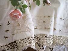 Pair Vintage Rose Embroidery Cutwork Hand Crochet Lace Beige Cotton Curtain Swag