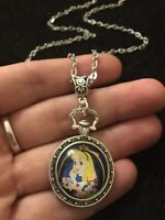 """Alice in Wonderland Necklace 24"""" we're all mad here drink me Pocket Watch Rabbit"""